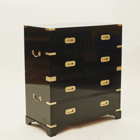 Campaign chest, sort poleret. Ca. 1950