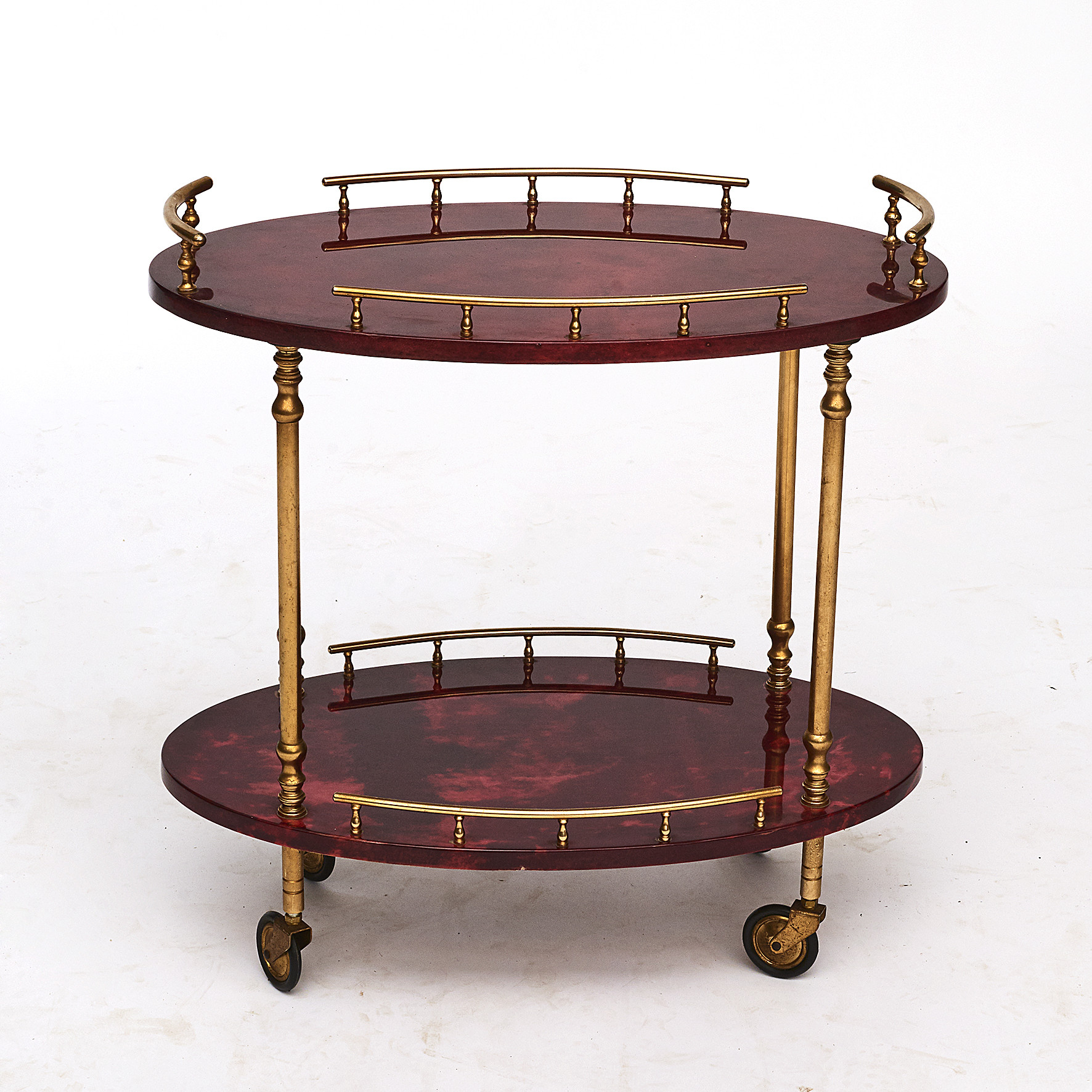 Aldo Tura. Mid-Century 2-Tier Red Goatskin Bar Cart or Tea Trolley