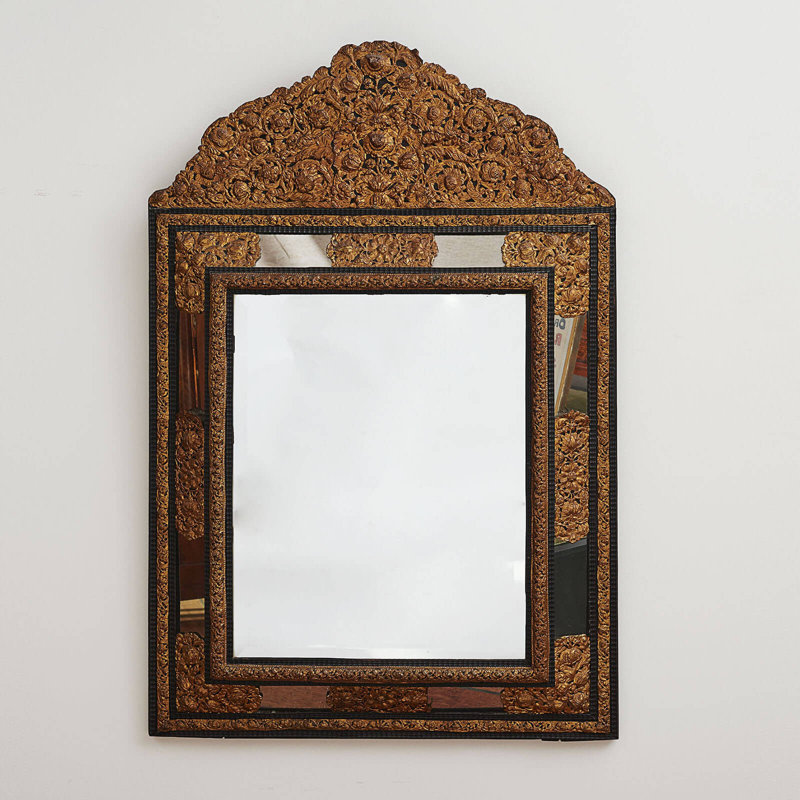 An Italian Baroque Gilded, Mirrored & Ebonized Mirror, First Half 18th Century