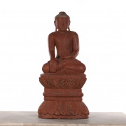 Burmese Wood Carved Buddha Statue on Lotus Stand