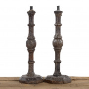 Pair of baroque church candlesticks