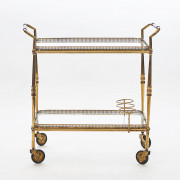 French Art Deco brass and glass trolly