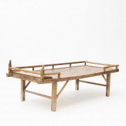 Qing Dynasty Chinese Elm and Bamboo Daybed