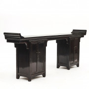 Black Lacquer Altar Table with pair of Cabinets