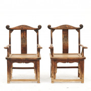 Pair of Qing Dynasty Official's Hat / Yoke back Chairs