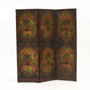 French three panel folding leather screen