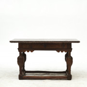 Baroque table in oak tree and with Öland limestone top. C. 1750.
