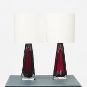 Pair of red glass lamps by Carl Fagerlund for Orrefors
