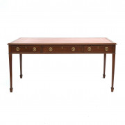 English Regency Partners Desk with Leather Top