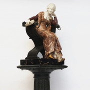 """Ferdinando Vichi"" Romantic marble figure of woman sitting in a chair"
