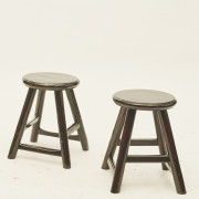 Pair of small stools, black lacquer