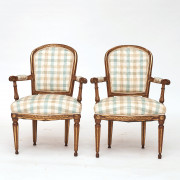 Pair of Danish Louis XVI Giltwood Open Armchairs, Late 18th Century