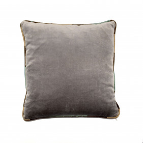 Grey velvet cushion with striped bores