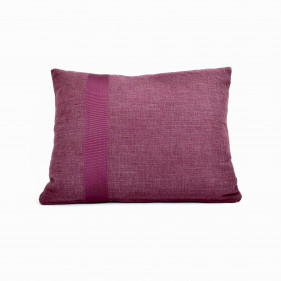 Purple cushion with ribbon. Fabric from Casamance.