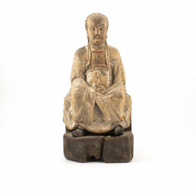 18th century wood carved figure of a Qing Dynasty official