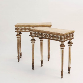 A Fine Paint of Italian Neoclassical Painted and Gilded Consoles, Circa 1780s