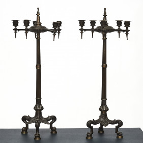 Pair of Pompeian Style Patinated Bronze Candelabras
