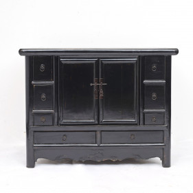 Freestanding Qing Dynasty Black Lacquer Sideboard
