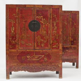Rare set of Red Lacquer Cabinets