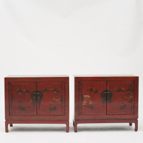 Pair of cabinets, original lacquer and decorations