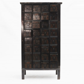 Chinese apothecary medicine cabinet with 32 drawers. Original lacquer
