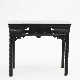 "Chinese ""Faux Bamboo"" Black Lacquer Console Table"