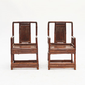 Pair of Chinese Qing Dynasty Bamboo Chairs with Calligraphy, China 1860-1880.