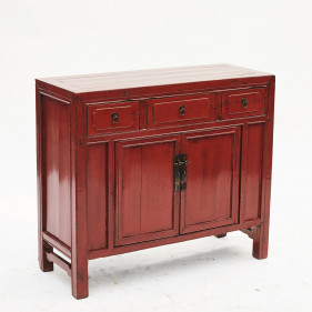 Chinese Qing Dynasty Red Lacquer Cabinet, 1880