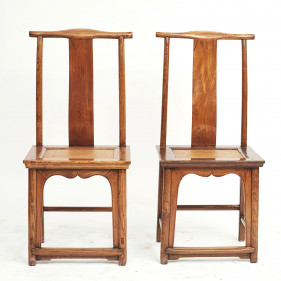 Pair of Mid-19th Century Chinese Ming Style Chairs with Wicker Seat