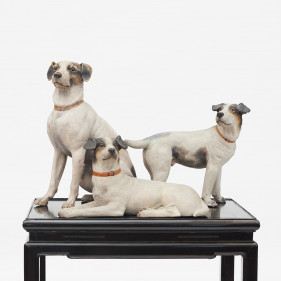 Dog sculpture made of terracotta Set of three Austrian Jack Russell Terriers, c. 1900