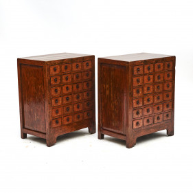 Pair of Chinese Apothecary 'Farmacy' Medicine Chests