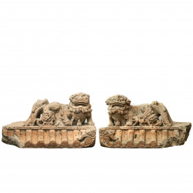 Pair of Large Chinese 16-17th Century Carved Lava Stone Guardian Lion Sculptures