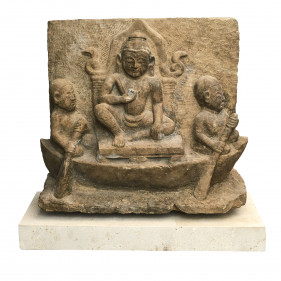 14th-15th Century Sandstone Temple Relief of Buddha on a Throne in a Boat