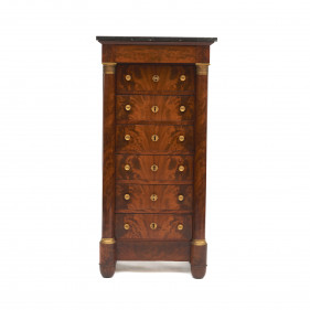 French Charles X Mahogany Wellington Chest