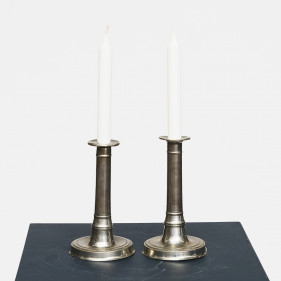 Pair of Louis XVI tin candlesticks
