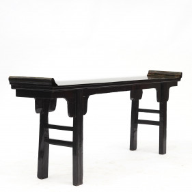 Chinese Black and Green Lacquer Altar Console Table. Qing 1830-1840