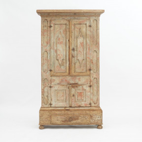 Original Faux Marble Painted Baroque Cabinet from Hälsingland, Sweden