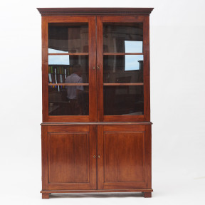 Mahogany Empire Cabinet with Glass Doors from the Danish West Indies