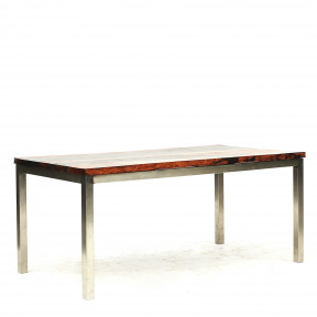 Long Dining Table with Narra Hardwood Top and Chrome Base