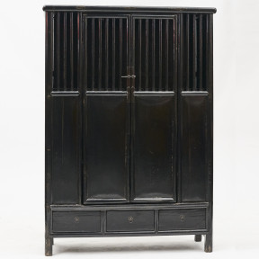 Black Lacquer Lattice Door Cabinet in Elm Wood