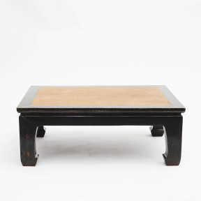 Chinese black lacquer coffee table with bamboo inlaid
