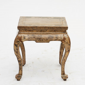 Chinese Qing dynasty Stool with Original Lacquer and Decorations