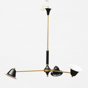 Italian Mid-century Stilnovo Chandelier. Brass, Black and White.