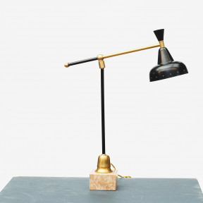 Italian Mid-Century Stilnovo Desk Lamp on Marble Base