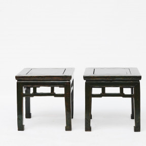 Pair of 19th Century Qing Chinese Green Lacquer Side Tables
