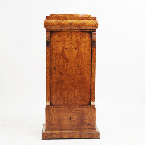 Danish Late Empire Flamed Birch Pedestal Cabinet
