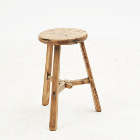 Rustic Chinese 18th Century Three-Legged Elmwood Stool