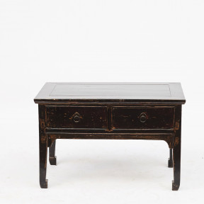 Chinese Two-Drawer Qing Dynasty Coffee Table in Black Lacquer