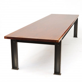 Large dining table with hardwood tabletop