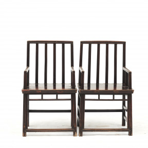 Pair of Chinese Architectural Armchairs